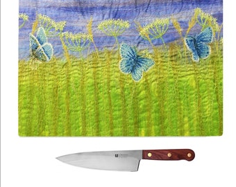 Tempered Glass Chopping Board Wildflowers and common blue butterflies embroidery print