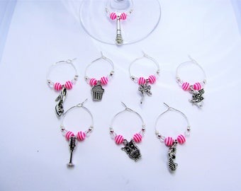 Pink wine glass charms (set of 8)