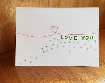 I love you handmade and embroidered Valentine's Day card for him or her.  BLANK INSIDE