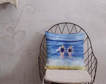 Winter swimming friends embroidery art print on premium cushion pillow