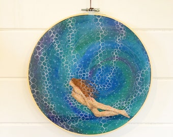 Original art 'under water love' sea swimming embroidery hoop original art wall hanging. gift for outdoor loving open water swimmers