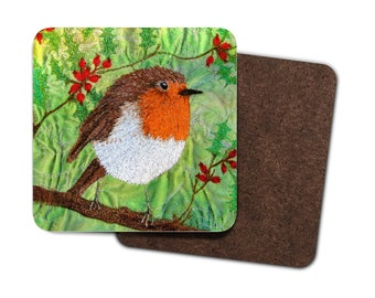 4 Pack Hardboard Coaster Christmas Robin embroidery art design