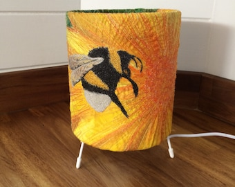 Busy Bee lampshade - yellow lampshade - embroidered bee -  bee lover -  nature lover gift ~ bee gift