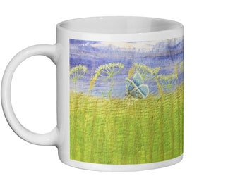 Wildflowers and common blue butterflies embroidery print. Ceramic Mug 11oz