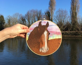 Heavy horse embroidery hoop wall art