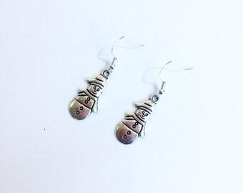 Snowman earrings ~ silver dangle winter earrings ~ silver snowman earrings ~ Christmas dress jewellery ~ handmade jewelry - gift for her
