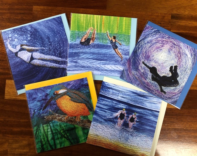 Featured listing image: Set of 5 blank greetings cards.  Wild open water swimming and kingfisher collection