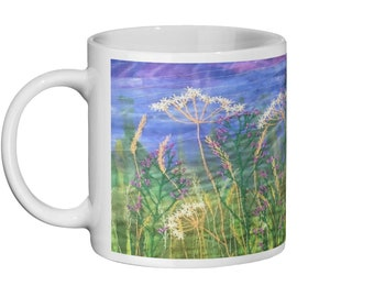 Wildflowers embroidery art Ceramic Mug 11oz