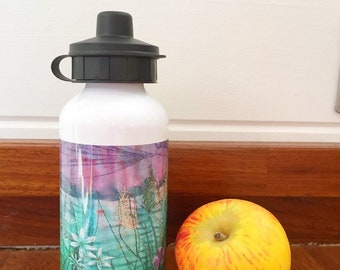 Sustainable reusable aluminium Sports Water drinking Bottle wild garlic design