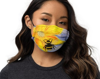 Bee embroidery art print on to premium face mask with adjustable strap and nose strip