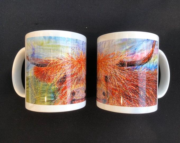 Featured listing image: Highland Cow embroidery art design Ceramic Mug 11oz