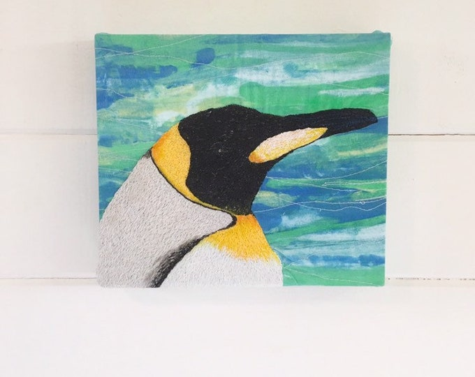 Featured listing image: King emperor penguin embroidery art