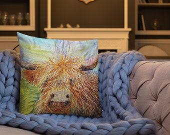 Highland cow embroidery art print on premium cushion pillow