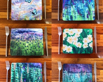 6 Table placemats wildflowers and open water swimming embroidery art prints.  Choose a set of 6 matching or mixed designs.