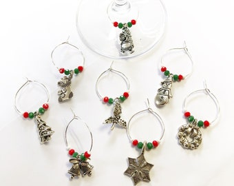 8 handmade Christmas theme wine glass charms.  Red, green, white & silver.  Christmas day stocking fillers a gift for mom secret santa