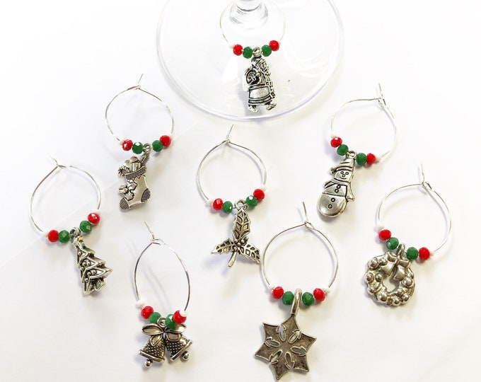 Featured listing image: 8 handmade Christmas theme wine glass charms.  Red, green, white & silver.  Christmas day stocking fillers a gift for mom secret santa