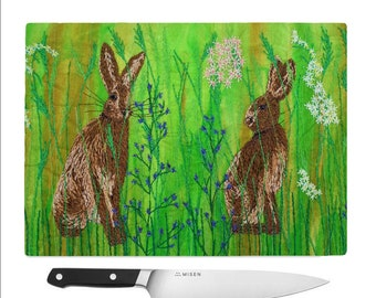 Tempered Glass Chopping Board Hare embroidery.  Wildflowers cutting board / worktop saver