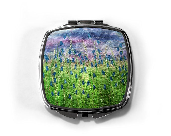 Featured listing image: Compact mirror Bluebell flowers design