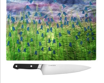 Tempered Glass Chopping Board bluebell flowers print
