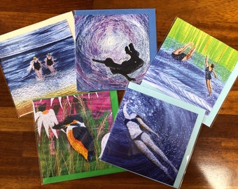 Set of 5 blank greetings cards.  Wild open water swimming and kingfisher collection