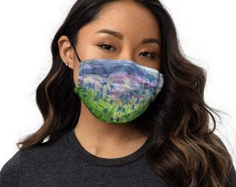 Bluebell embroidery art print on to premium face mask with adjustable strap MADE TO ORDER