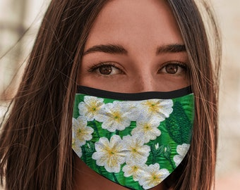 Face Mask embroidered primrose design with elastic ear loop