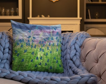 Bluebell flowers embroidery art print on premium cushion / Pillow MADE TO ORDER