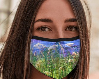 Face Mask wildflowers embroidery art print with elastic ear loops