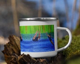 After swim playtime embroidery art print on enamel Mug