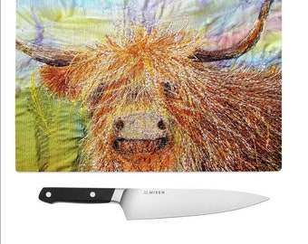 Tempered Glass Chopping Board Highland Cow / worktop saver / cutting board