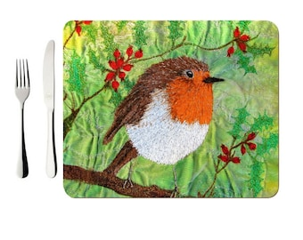 Hardboard Placemat Christmas Robin embroidery art (single)