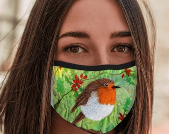 Face Mask Christmas Robin embroidery art print with elastic ear loops