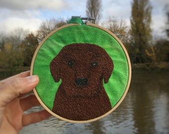 Chocolate Labrador puppy embroidery hoop decoration.  A quirky gift for dog lovers, baby animals and unique home decorations.