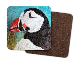4 Pack Hardboard Coaster Puffin embroidery art print