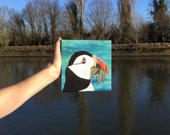 Puffin embroidery art
