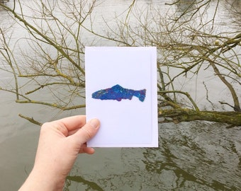 Handmade blue fish card