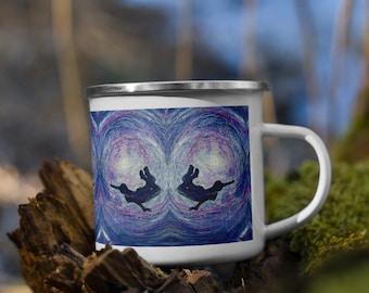 Freedom underwater wild swimmer blue embroidery art print on enamel mug