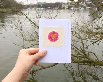 Pink gerbera flower card