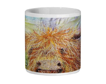 Highland Cow embroidery art design Ceramic Mug 11oz