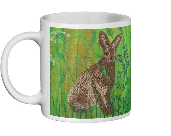 Featured listing image: Hare / rabbit embroidery art design Ceramic Mug 11oz