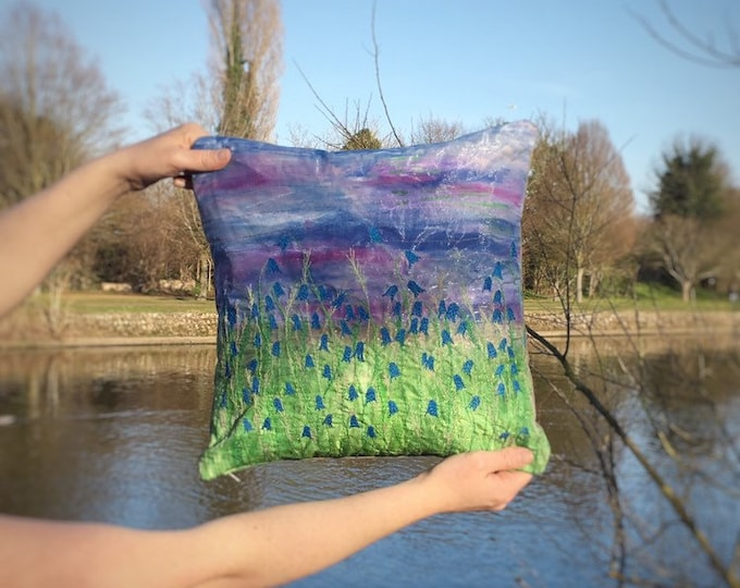 Featured listing image: Bluebell flowers handmade cushion