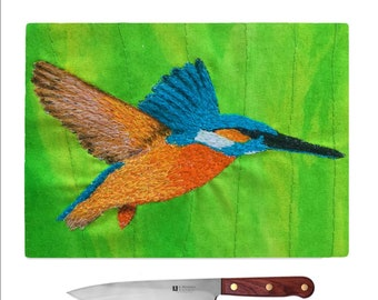 Tempered Glass Chopping Board kingfisher
