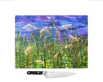 Tempered Glass Chopping Board wildflowers