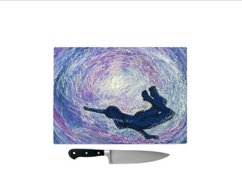 Tempered Glass Chopping Board Freedom under water embroidery art