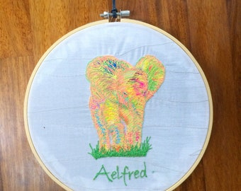 Personalised animal embroidery hoop decor 20cm hoop.