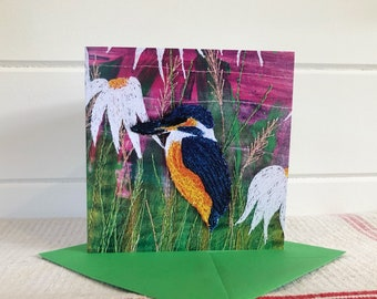Kingfisher bird greetings blank card.  Gift for art nature lovers, him and her.