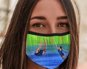 Face Mask after swim playtime embroidery print with elastic ear loops