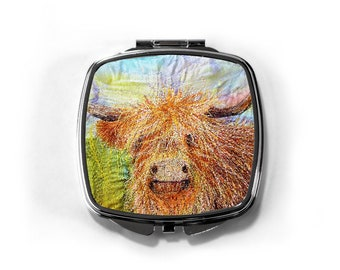 Highland cow embroidery art print on compact hand Mirror