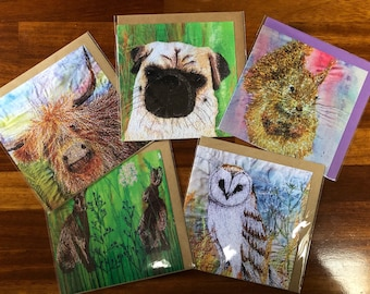 Set of 5 blank greetings cards.  Red squirrel , pug dog, highland cow, Hares, and Owl collection