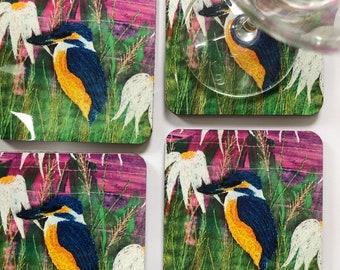 Kingfisher coasters ~ animal coasters ~  nature coasters ~ Kingfisher print ~ Kingfisher bird ~ Kingfisher gift bird lamp